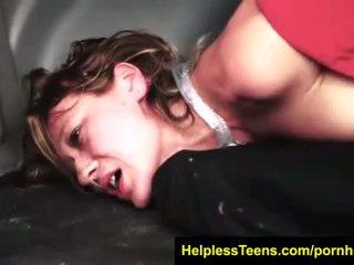 HelplessTeens.com Callie Calypso stranded endures outdoor rope bondage