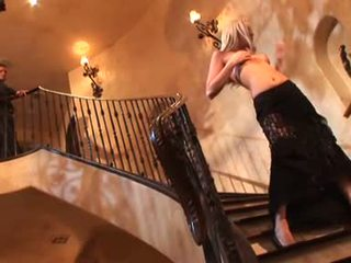 Blonde bitch Brea Bennet is rammed on the stairs by a horny fuck stick
