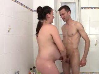 Preggo mom banged in the bathtub