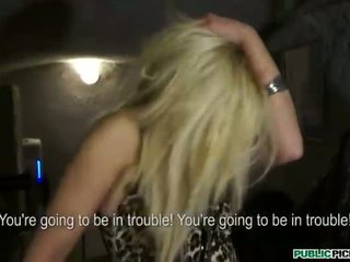 Blonde babe ass banged in the cloakroom